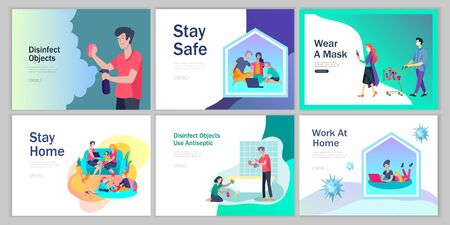 Stay at home, wear mask, disinfect objects, work at home, use antiseptic, keep distance concept of coronavirus prevention. Protection and revention of 2019-nCoV, banner and landing page, vector