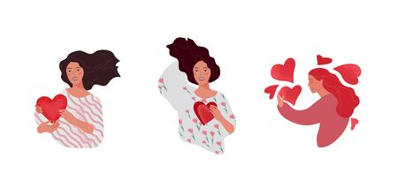 Set of beautiful girl character in daily life scenes. Young woman shopping, makes up, sleeping, relaxes, takes a bath, chooses clothes, drinking coffee. Flat cartoon vector illustration Ilustração