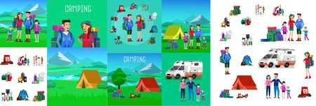 Men and woman character camping tourists. Camping Weekend icons. Hiking and camping object. Vector camping flat illustration Çizim