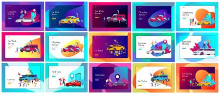 Landing page template mobile city transportation, online limousine, car sharing with family character and smartphone. People characters and automobile repair service, cleaning vehicle. Car wash
