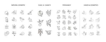 Vector icon collection for pregnancy and gynecology, peace and charity, natural cosmetics. Editable outline stroke size. Line flat contour, thin and linear design. Simple icons. Sign, symbol, element. Vectores