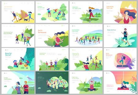 Landing page template with People running, riding bicycles, man doing yoga. People performing sports outdoor activities at park or Nature, healty life style concept. Cartoon illustration