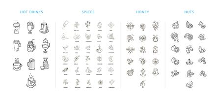 Vector icon and  collection hot drinks, spices, nuts and honey . Editable outline stroke size. Line flat contour, thin and linear design. Simple icons. Sign, symbol, element. Illustration