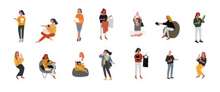 Set of beautiful girl character in daily life scenes. Young woman shopping, makes up, sleeping, relaxes, takes a bath, chooses clothes, drinking coffee. Flat cartoon vector illustration 向量圖像