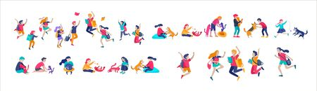 Illustration of children playing and doing activities, kids with gadgets, running, jumping and with bags and gift