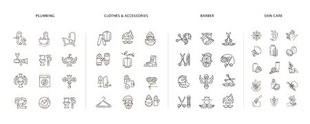 Vector icon and logo collection for clothes and accessories, barber shop, natural cosmetics and plumbing. Editable outline stroke size. Line flat contour, thin and linear design. Simple icons. Concept illustration