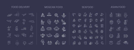 Vector icon collection for asian, japan food seafood and mexican. Delivery food. Editable outline stroke size. Line flat contour, thin and linear design. Simple icons. Sign, symbol, element.