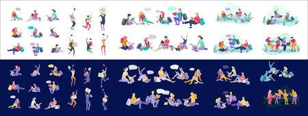 Set of happy relaxed learning and reading people outdoor park for online education, training and courses. Modern vector illustration concept, cartoon characters