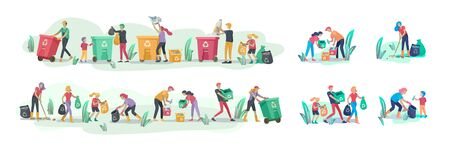 people and children Recycle Sort organic Garbage in different container for Separation to Reduce Environment Pollution. Family with kids collect garbage. Environmental day vector cartoon illustration Vectores