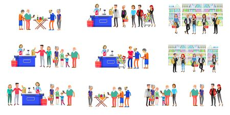 Concept banner for Shop. Vector character people in supermarket, cart, delivery, family shopping. Healthy eating and eco food Illusztráció