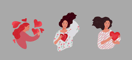 Set of beautiful girl character in daily life scenes. Young woman shopping, makes up, sleeping, relaxes, takes a bath, chooses clothes, drinking coffee. Flat cartoon vector illustration