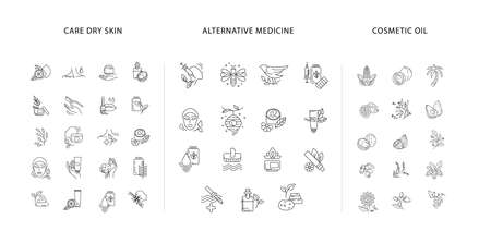 Vector icon collection for natural cosmetics oil, care dry skin and alternative medicine. Editable outline stroke size. Vitamin E, olive oil elements. Concept illustration. Sign, symbol, element.