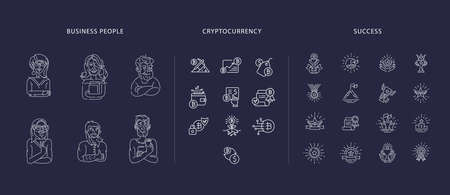 Vector icon business people character avatars, creative team, bitcoin and cryptocurrency and success. Editable outline stroke size. Line flat contour, thin and linear design. Sign, symbol. Imagens - 150591130
