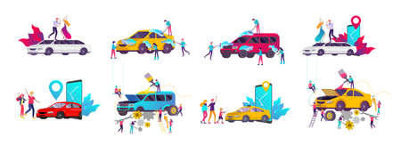 Car service having their repaired, cartoon people characters paint car, change wheels, automobile repair shop, vehicle service concept. Vector flat style illustration