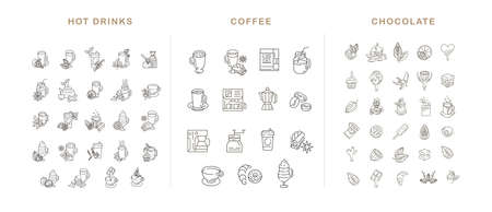 Vector icon and logo hot drinks, coffee making equipment and chocolate. Editable outline stroke size. Line flat contour, thin and linear design. Simple icons. Concept illustration. Sign, symbol, element. Illustration