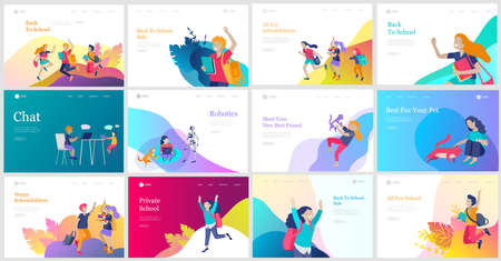 Landing page template with Happy school children joyfully jumping and laughing. Concept of happiness, gladness and fun. Vector illustration for banner, poster, website, invitation. Banque d'images - 150882560