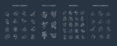Vector icon and logo collection for pegnancy and gynecology, peace and charity, natural cosmetics. Editable outline stroke size. Line flat contour, thin and linear design. Simple icons. Sign, symbol, element.