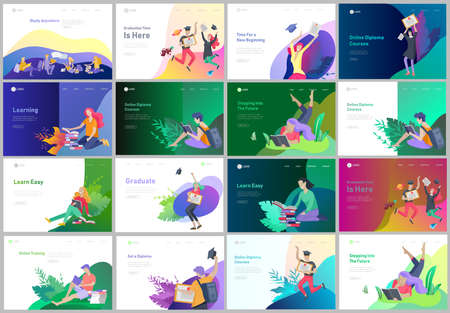 Set of web page design templates with relaxed learning people outdoor and graduate for online education, training and courses. Modern vector illustration concepts for website