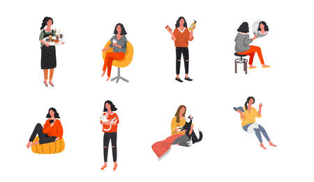Set of beautiful girl character in daily life scenes. Young woman shopping, makes up, sleeping, relaxes, takes a bath, chooses clothes, drinking coffee. Flat cartoon vector illustration  イラスト・ベクター素材