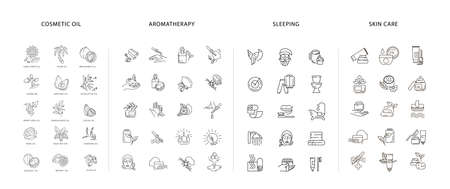 Vector icon  collection for natural cosmetics oil care dry skin, aromatherapy and sleeping symbols. Editable outline stroke size. Line flat contour, thin and linear design. Simple icons Stock Illustratie