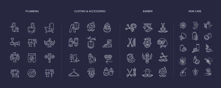 Vector icon collection for clothes and accessories, barber shop, natural cosmetics and plumbing. Editable outline stroke size. Line flat contour, thin and linear design. Simple icons. Concept illustration