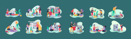 Scenes with family doing housework, kids helping parents with home cleaning, washing dishes, fold clothes, cleaning window, carpet and floor, wipe dust, water flower. Vector illustration cartoon style Stock Illustratie