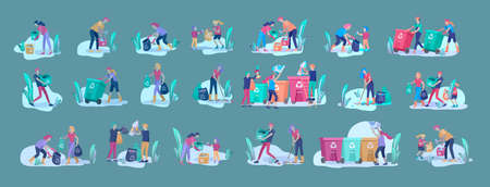 people and children Recycle Sort organic Garbage in different container for Separation to Reduce Environment Pollution. Family with kids collect garbage. Environmental day vector cartoon illustration Stock Illustratie