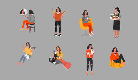 Set of beautiful girl character in daily life scenes. Young woman shopping, makes up, sleeping, relaxes, takes a bath, chooses clothes, drinking coffee. Flat cartoon vector illustration Stock Illustratie