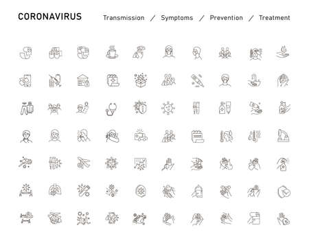 Set of Coronavirus Protection. Prevention of New epidemic 2019-nCoV icon set for infographic or website. Safety, health, remedies and prevention of viral diseases. Isolation. Vector illustration
