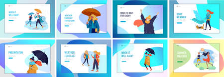 People character in various weather conditions. Man and woman in seasonal clothes and enjoys walking on street in rain, snowfall, summer heat. Colorful vector cartoon illustration Stock Illustratie