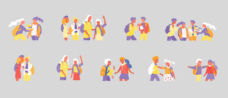 Back to school flat vector illustrations set. Preteen and teenage schoolkids. Parents with kids, schoolmates, friends cartoon characters isolated on white background. Schoolboys and schoolgirls Stock Illustratie