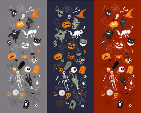 Vector icon and element collection for Halloween greeting card and poster, party sign. Concept illustration with Sign and symbol. Flat design cartoon element.