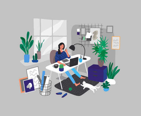Freelancer designer girl working in nordic style home office with cat. Daily life and everyday routine scene by young woman in scandinavian style cozy interior with houseplants. Cartoon vector illustration.