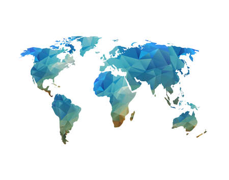 World map in polygonal style. Vector background