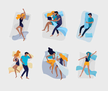 Set of sleeping people characters. Man woman and family are sleep in beds in relax poses. Top view. Colorful vector illustration