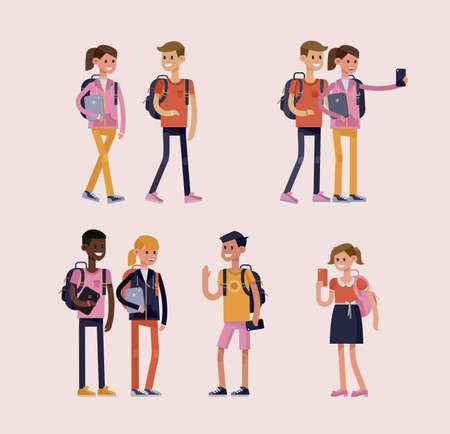Vector detailed characters of schoolchildren. Children boy and girl smiling, holding gadgets and backpacks. Flat style illustration
