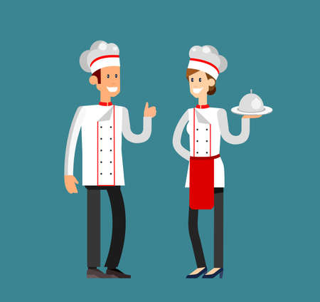 Vector detailed characters woman and man professional chef cook or baker. Flat design vector illustration Stock Illustratie