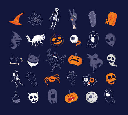 Helloween characters and elements collection. Vector Illustration