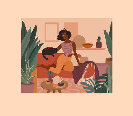Cute african girl resting with a cat on couch. Daily life and everyday routine scene by young woman in home interior with houseplants. Cartoon vector illustration