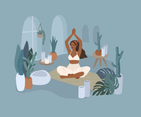 Cute girl doing yoga poses. Lifestyle by young woman in home interior with houseplants. Cartoon vector illustration Stock Illustratie