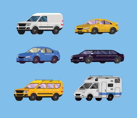 Set of flat Car. Transport collection, limousine, family car, sedan and truck. Vector illustration
