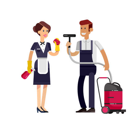 Vector detailed character professional housekeeper. Cleaning service and supplies. Flat illustration