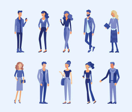 Detailed character business people. Man and woman with gadgets, backpacks and books in stylish clothes. Flat vector illustration
