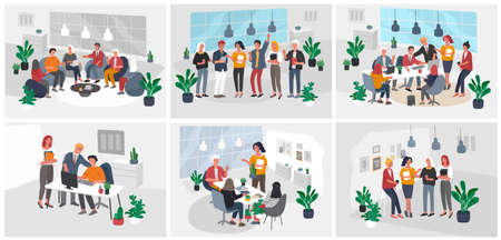 Office interior workplace with group workers communicating or talking to client or conversations between teamwork or meeting, brainstorming. Vector cartoon concept illustration for business