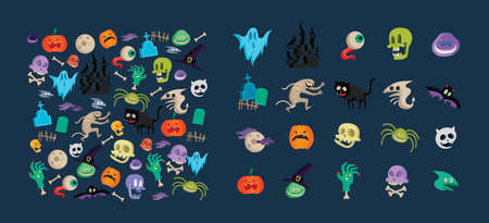 Vector icon and element collection for Helloween greeting card and poster, party sign. Concept illustration with Sign and symbol. Flat design cartoon element. Stock Illustratie