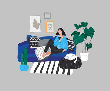 Girl girl sitting and resting on the couch with a cat and coffee. Daily life and everyday routine scene by young woman in scandinavian style cozy interior with homeplants. Cartoon vector illustration. Stock Illustratie