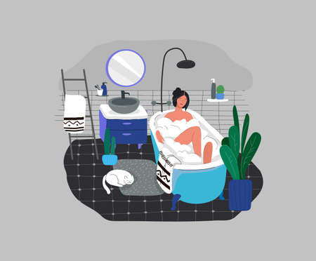 Girl relaxes in bath with foam and sleeping cat. Daily life and everyday routine scene by young woman in scandinavian style cozy bathroom with homeplants. Cartoon vector illustration.