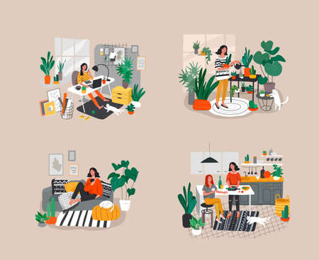 Set of beautiful girl in daily life scenes. Young woman shopping, makes up, sleeping, relaxes, takes bath, chooses clothes, playing with cat, working, watering flower. Flat cartoon vector illustration