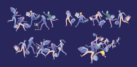 Collection of people carrying shopping bags with purchases. Madness on sale, line of crazy Men and women taking part in seasonal sale at store, shop, mall. Cartoon characters concept for black friday. Stock Illustratie