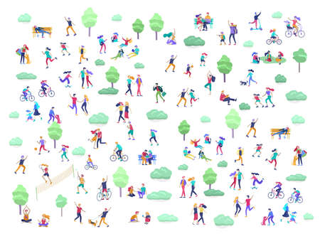 People Spending Time, Relaxing on Nature, family and children performing sports outdoor activities at park, walking dog, doing yoga, riding bicycles, tennis workout. Cartoon vector
